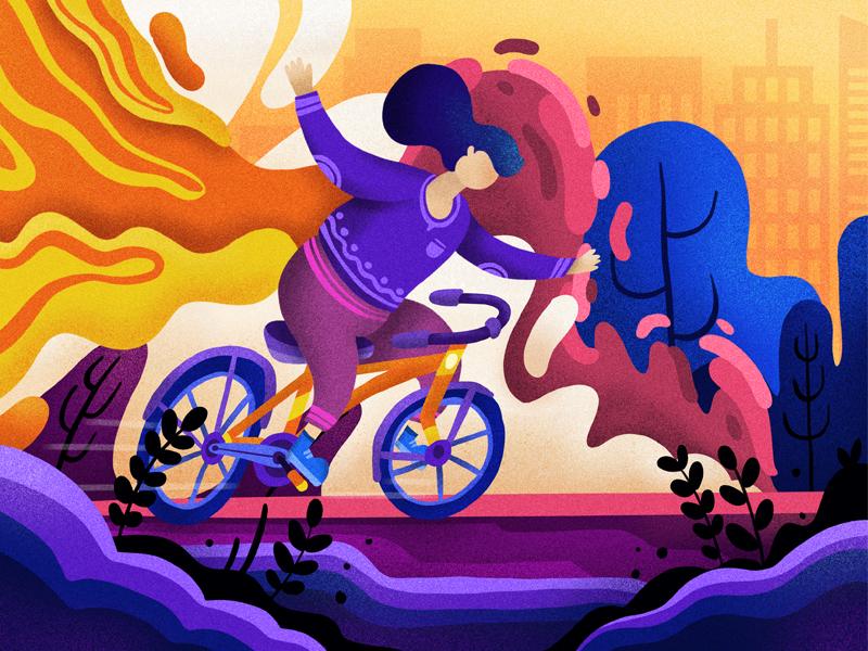 Bike Sharing Illustration header character bike bicyle fun flat gradient animation design web vector illustration