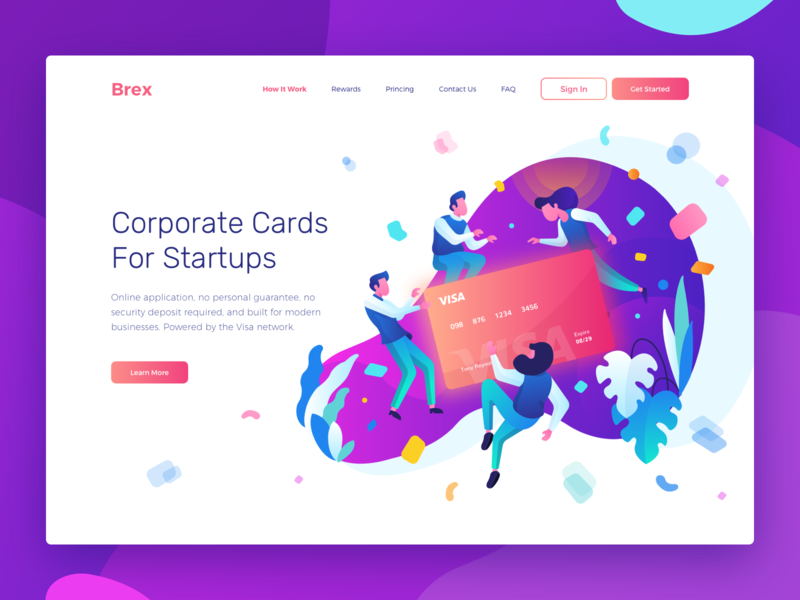 Header Illustration for Brex character purple colorful web credit card payment vector homepage website landing page header header illustration gradient character illustration illustration