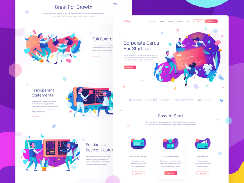 Brex - Landing Page header illustration trend 2018 trending payment icon set purple clean credit card colorful character illustration landing page homepage gradient ui web website vector illustration header character