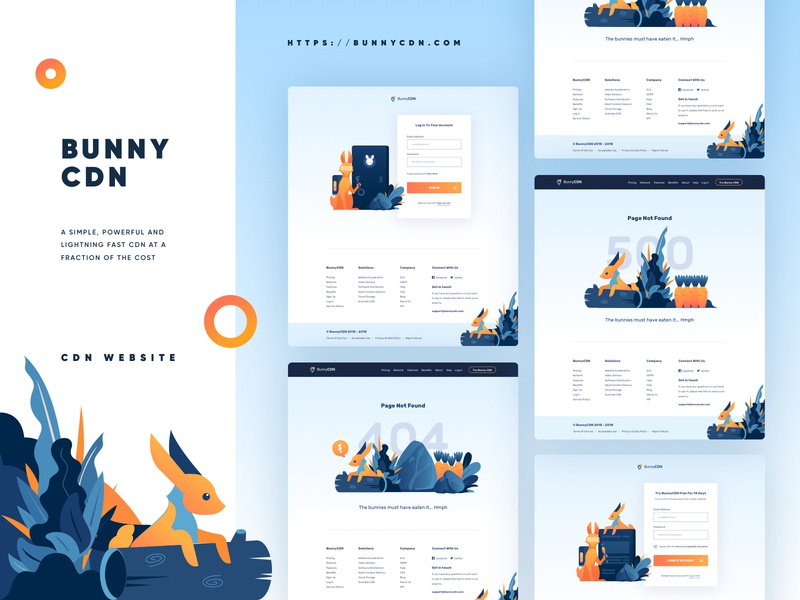 BunnyCDN Full Website Redesign web design bunny rabbit cdn redesign vector website 500 signup sign in 404 vpn landing page internet service illustration