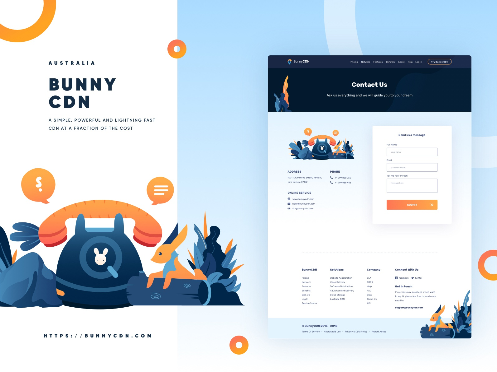 BunnyCDN Full Website Redesign - Contact Us rabbit web  design redesign web design ui gradient form vpn internet service contact us cdn bunny website vector landing page illustration