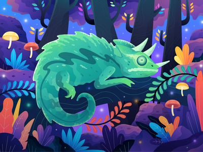 "Animal Conservation ""Reptile"" Illustration hero illustration uiux ui nature forest jungle chameleon colorful web vector website homepage header landing page gradient illustration reptile conservation animal"