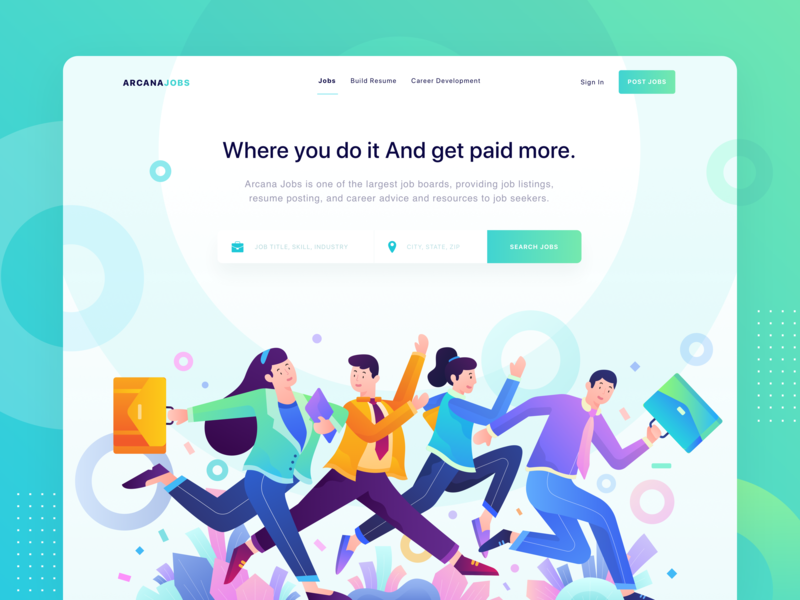 ArcanaJobs - Where you do it And get paid more. jobs icon jobsite header illustration character ui web character illustration colorful homepage header website gradient landing page vector illustration