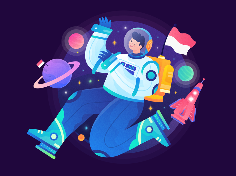 74th Indonesia Independence Day astronaut landing page character illustration flag procreate star planet rocket header illustration gradient homepage indonesia space colorful character header web illustration vector