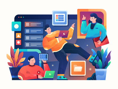 Header Illustration for Nirvana Landing Page web adobe illustrator icon plants work management task platform header illustration character illustration ui character colorful homepage header website gradient vector landing page illustration