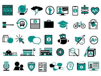 School Icons symbols middle school high school elementary education school district school iconset icons
