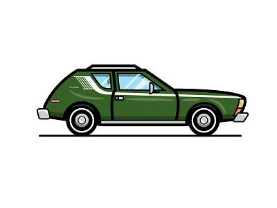 AMC Gremlin racing stripe zoom race wagon vectorart green automobile vehicle amc hotrod vintage 1980s 1970s retro gremlin car