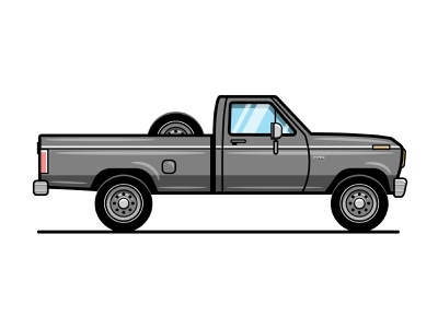 1980 Ford F150 automobile vectorart offroad country 1980s retro vintage vehicle longbed long grey gray pickup truck pickup f150 truck ford