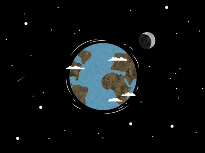 Earth childrens book fun vectorart globe clouds star shooting star stars moon outer space space planets earthday planet earth