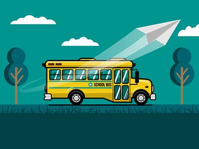 School Bus vectorart flying riding trees clouds paper airplane kids bus transportation education school bus school