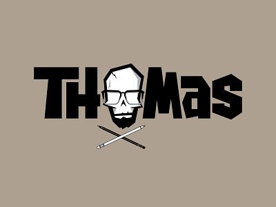 Thomas Logo quirky font design typedesign typeface type glasses thomas art artist branding brand skull logo