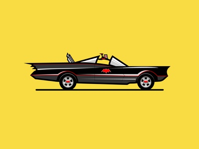 Retro Batmobile robin dccomics dc superhero comics comic book ride smooth vector art groovy bat vehicle car 60s 1960s retro adam west vintage batmobile batman