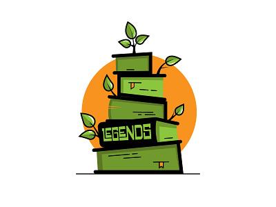 Book Legends typography bookstore book bookshop vectorart logo orange green growth leaves elementary elementary school library stack legend legends read reading books