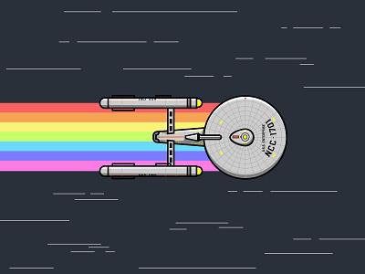 NCC-1701 fanart tv television 1960s retro vectorart flying fast stars spock kirk starship pride rainbow spaceship space star trek uss enterprise enterprise ncc-1701