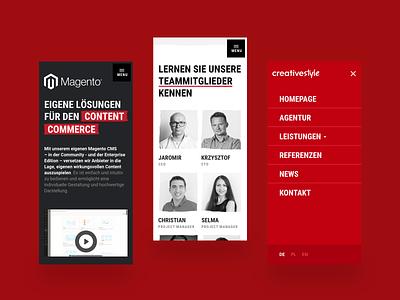 creativestyle - website magento magento agency e-commerce ecommerce ui design menu interaction hamburger agency