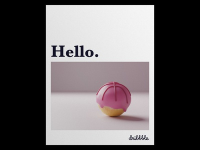 Hello Dribbble attempt II hello dribbble donuts donut hole 3d 3d illustration 3d modelling blender blender 3d blender3d food print paper poster