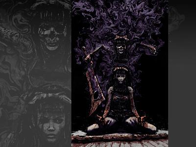 Ashlyn/Hateborn xithlion skull illustration horror fantasy digital painting digital art dark comic