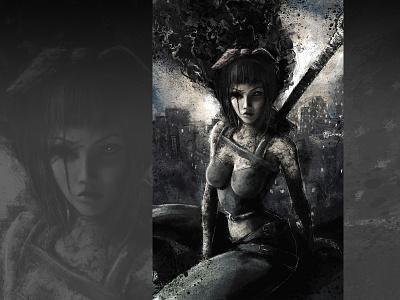 Ashlyn/Hateborn xithlion illustration horror fantasy digital painting digital art dark comic