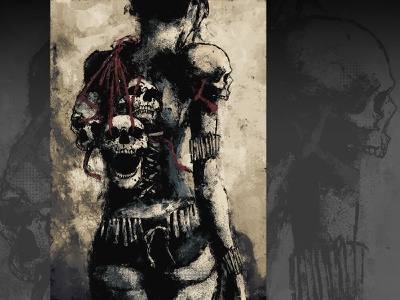 The Bone Collector xithlion skull illustration horror fantasy digital painting digital art dark comic