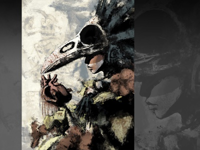 The Heart xithlion skull illustration horror fantasy digital painting digital art dark comic