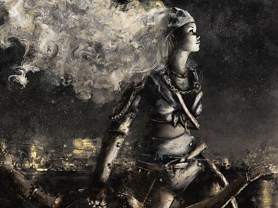 Claire/Hateborn xithlion illustration horror fantasy digital painting digital art dark comic