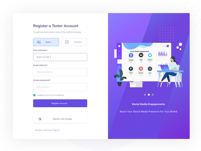 SIGN UP PAGE/CHOOSE ACCOUNT TYPE carousel quality assurance sign up choose account type create account sign up design ux