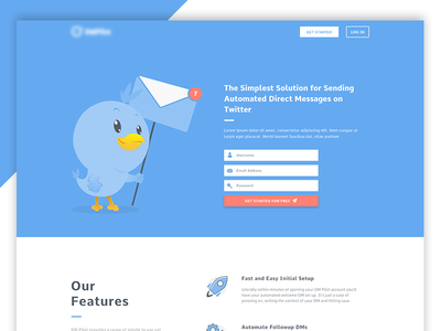 Landing page concept for a client marketing twitter landing page