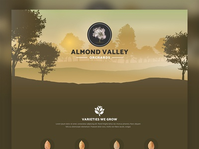 Almond Valley Orchards divi landing page single page farm orchard