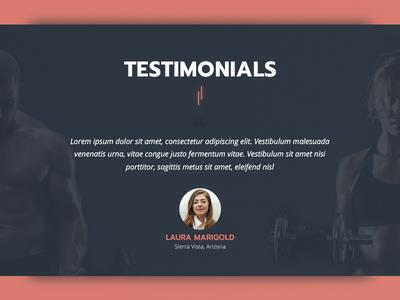 [WIP] Testimonials Section for Fitness Trainer dark theme workout gym fitness testimonial