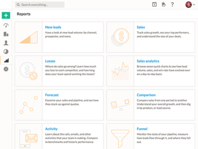 Nutshell Reports Home crm orange peach icons reports