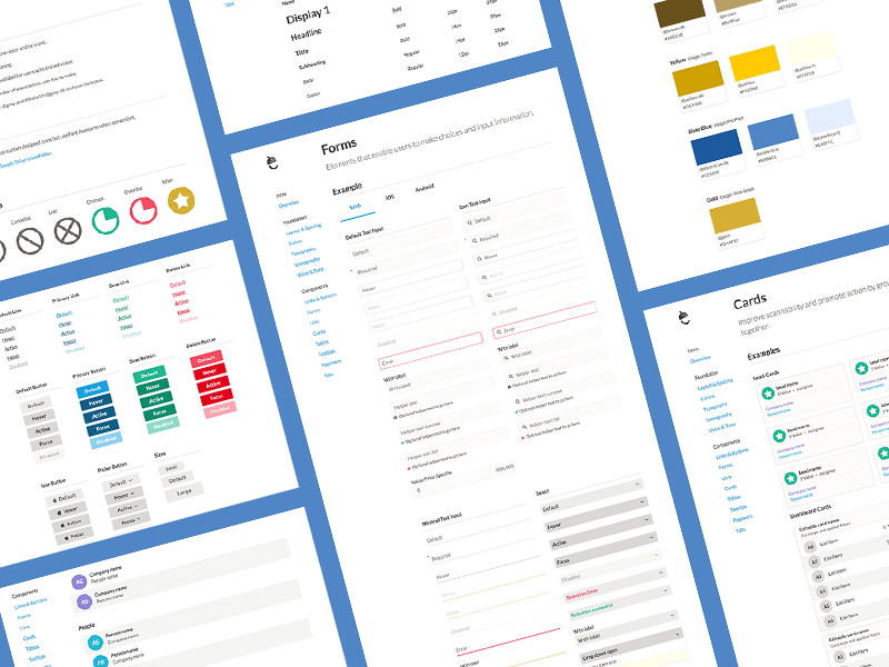 Nutshell Design Language tables cards colors forms lists iconography buttons links typography components style guide crm