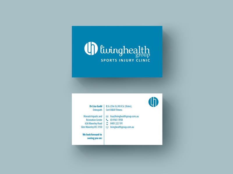 Business Cards Design for Living Health Group australia brand graphic design design business cards