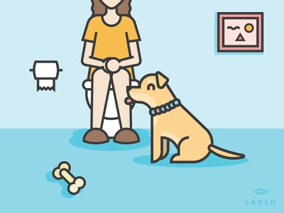 What is personal space? design illustration needy bathroom space dogs lasso