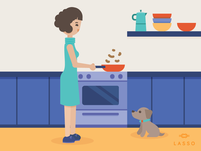 You cook, I clean pet hungry design illustration kitchen lasso cook dog