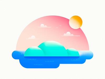 Home sky ocean sun tropical caribbean island colors gradients illustration