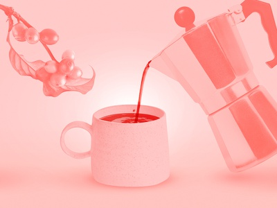La Ofrenda coffee break puerto rico postcard pink expresso tree pot mug moka greca beans coffee