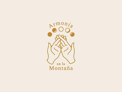 Armonía En La Montana moon hands gold puerto rico farm agriculture illustration branding logo