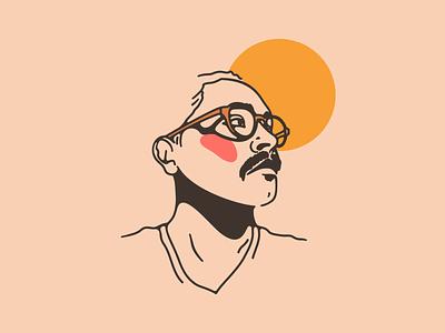 Grego glasses man warm illustration portrait