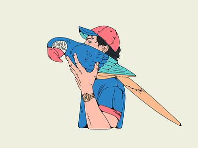 """Dogos """"Self-Titled"""" album cover casio cap man bird illustration"""