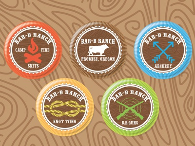 Bar B Badges merit badges knots archery guns fire pocketknives cattle ranch badges arrows
