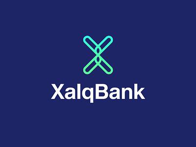 XalqBank logo concept logo design bank xalqbank graphic design logotype branding typeface design logo
