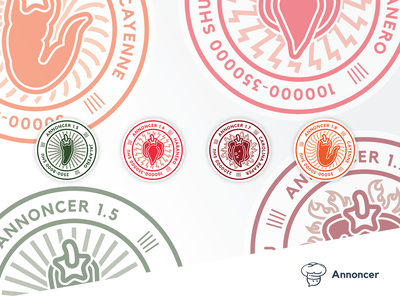 Annoncer Release badges logo badge release peppers illustration vector stickers branding annoncer index hospitality systems