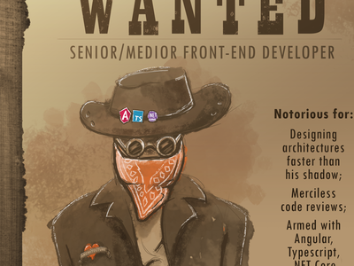 Wanted: developer bounty index hospitality systems campaign poster developer mugshot sketch sheriff wild west wanted