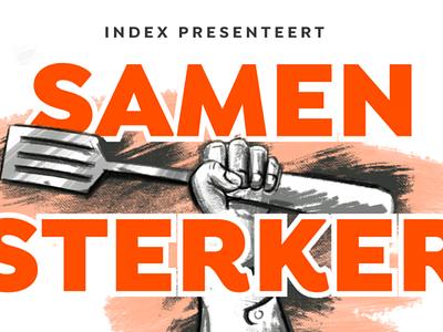 SAMEN STERKER thrive depth repoussoir paint spatula fist campaign banner