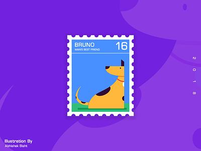 Bruno..Man's Best Friend flat dog art vector illustrations