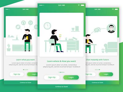 Educational App Tutorial Screens app educational illustration guide tutorials app concept vectorgraphics minimalart creative art flat