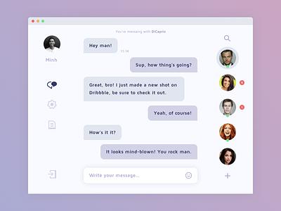 Direct Messaging simple sketch desktop app app people message messaging chat clean