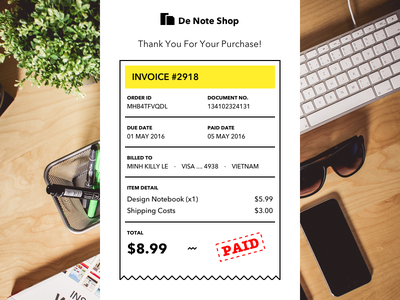 Email Receipt daily letter paid retro invoice receipt email