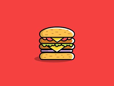 Hamburger fast food burger illustration icon hamburger food