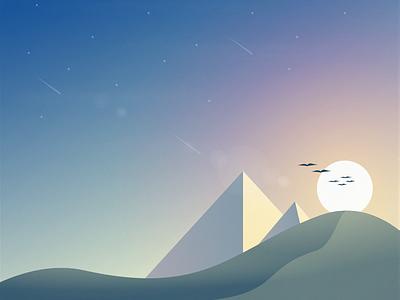 The Dawn scenery landscape illustration gradient
